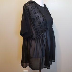 ASOS   black floral applique tunic